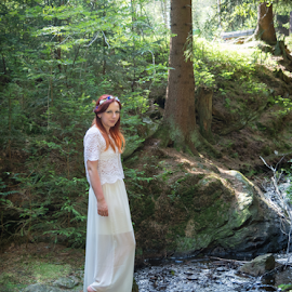 fairy in a forest by Denny Gruner - People Fashion ( countryside, fashion, stream, model, wood, eye contact, fairy, plants, beauty, landscape, clear, sexy, girl, mystical, nature, woman, lovely, look, water, brook, dream, elegance, green, beautiful, white, forest, relaxation, posing, sensual, princess, outdoor, lady, summer, trees, standing )