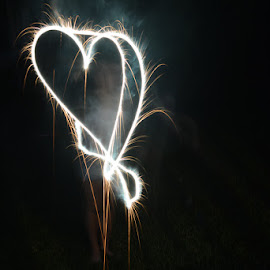 I Heart July 4 by Mike Rushing - Abstract Fire & Fireworks ( july 4 timelapse heart firework sparkler )