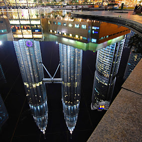 Towers Reflection, KL by PETER  LEE  - Landscapes Travel