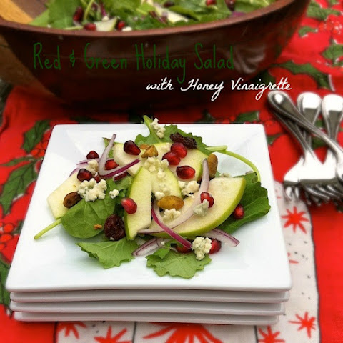 Red & Green Holiday Salad with Honey Vinaigrette