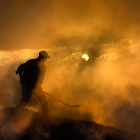 Inferno by Ionut Stoica - People Fine Art ( coal, toxic, sunrise, sun, man, smoke )