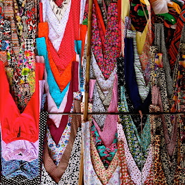 ABSTRACT FABRICS by Doug Hilson - Abstract Patterns ( hanging clothes, abstract, colorful clothes, dresses, pattern india )