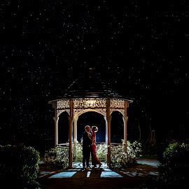 Under the stars by Paul Duane - Wedding Bride & Groom ( night photography, wedding, landscape, bride, groom )