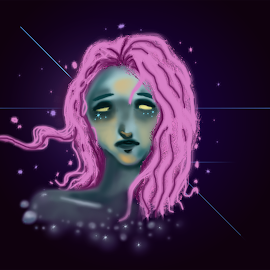 Sparkle by Deemarie Valenza - Illustration People ( cool, girl, sad, paint, photoshop )