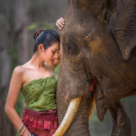 Into the Wild: Compassion by Arunan S Athi - People Portraits of Women ( affection, elephant, woman, friendship, compassion )
