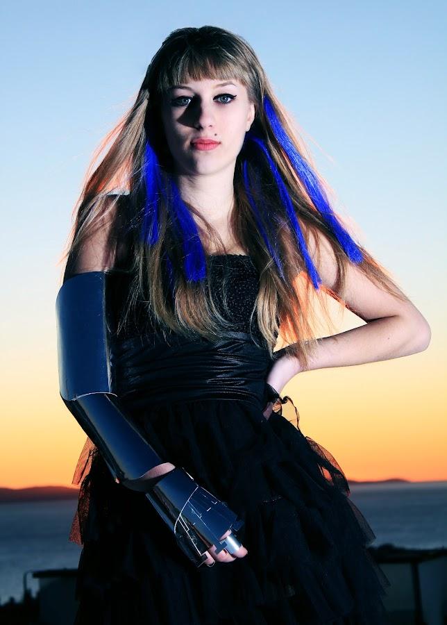 Black Bride by Karlo Lozo - People Portraits of Women ( metal hand purple hair sunset bride woman people )