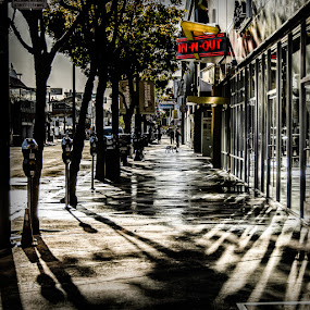 Morning Walk by Dee Zunker - City,  Street & Park  Street Scenes ( francisco, fisherman's wharf )