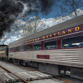 Full steam ahead by Izzy Kapetanovic - Transportation Trains ( cumberland, md, railroad, train, tracks, smoke, steam )