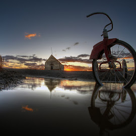 Moving on by Eric Demattos - Buildings & Architecture Decaying & Abandoned ( school house, reflection, tricycle, sunset, eric demattos, puddle )