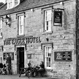 The Eagle Hotel by Tina Stevens - Black & White Street & Candid ( scotland, monochrome, black and white, street, tavern, architecture, highlands, people, pub, public house, eagle hotel, bar, dornoch )
