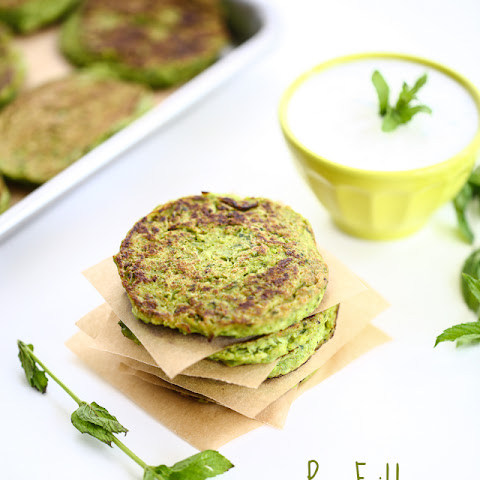 Pea Fritters with Mint Cream Sauce