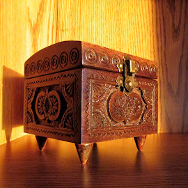 The Box by Linda Doerr - Artistic Objects Other Objects ( carved, wooden, beam, box, sunlit, shadows )
