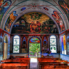 Painted Church by Beth Hughes - Buildings & Architecture Places of Worship ( volcano, church )