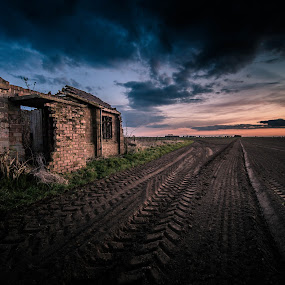 Troughs & Trenches by Peter Rollings - Buildings & Architecture Other Exteriors ( clouds, field, building, wwii, ruin, sunset, derelict, tracks, landscape, decay )