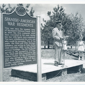 This was once the summer camp of Michigan's National Guard. Here in 1898 the five regiments which were recruited in the state during the war with Spain were organized. Ten men volunteered for every ...