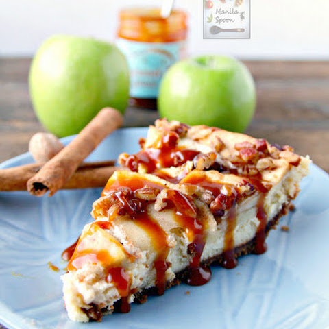 Apple Cheesecake Pie with Caramel Sauce
