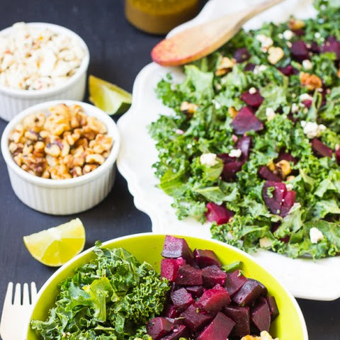 Roasted Beet Feta Salad with Honey Mustard Vinaigrette