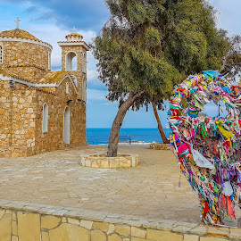 Messages for the lost ones by Daniela Casuneanu - Buildings & Architecture Places of Worship ( message, colour, tree, church, blue, ribbons, stone, dead, worship, cyprus, colours )
