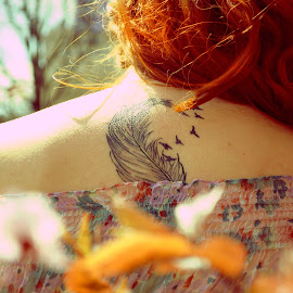 Dreamer by Cristina Elena Ilie - People Body Art/Tattoos ( body, red, tattoo, light, hair, birds, feather, sun,  )