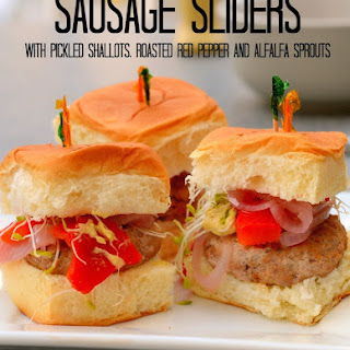 Sausage Sliders with Pickled Shallots, Roasted Red Pepper and Alfalfa Sprouts