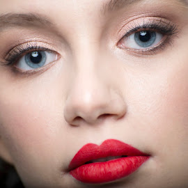 blue & red by Iulian Cahul - People Portraits of Women ( lipstick, eyes )