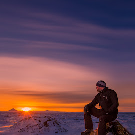 Sunset on Christmas by Sigurður Brynjarsson - Landscapes Sunsets & Sunrises ( calm, sit, iceland, peaceful, mountain, colorful, sunset, christmas, horizon, sunrise, landscape, profoto, man, relax, tranquil, relaxing, tranquility )