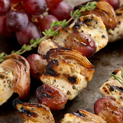 Herby Grilled Chicken Kebabs with Grapes and Shallots