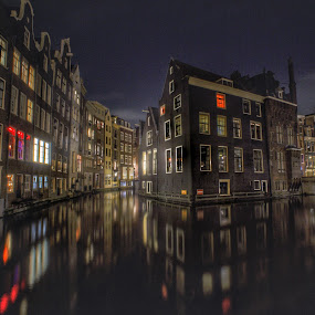 Amsterdam Reflections by Adam Lang - City,  Street & Park  Historic Districts ( holland, red light district, amsterdam, canal,  )
