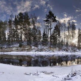 Winter river by Eugenijus Rauduve - Landscapes Waterscapes ( water, ice, snow, trees, river )