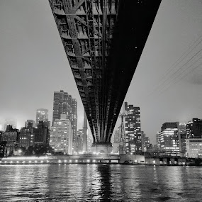 Under the Bridge at Night by Chris Gray - Buildings & Architecture Bridges & Suspended Structures ( lighting, queens, night time, new york, bridge )