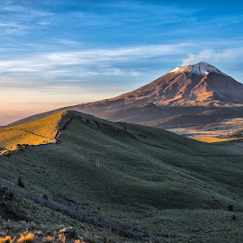 Morning in the mountain by Cristobal Garciaferro Rubio - Landscapes Prairies, Meadows & Fields ( volcano, mountain, popo, mexico, popocatepetl, volcanoes, morning, light, sun )