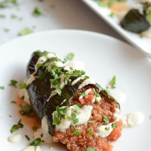 Spicy Stuffed Pasilla Peppers with Cashew Cream Sauce