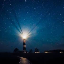 Bodie Island Lighthouse by Robert Mullen - Landscapes Starscapes ( light rays, nc, outer banks, stars, lighthouse, light, bodie island lighthouse, north carolina )