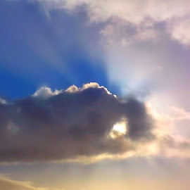 Heavenly Hand by Julie Smith - Landscapes Cloud Formations ( stormy, cumulus, heavenly, god, colorful, colorfulsunbeam, storm, wisp, sun, hand, sky, nature, grasping, weather, spirituality, pink, light, azure, clouds, crepuscular, thunderstorm, cerulean, heaven, colors, cloudscape, shadows, skies, rays, blue, fog, sunset, beams, golden )