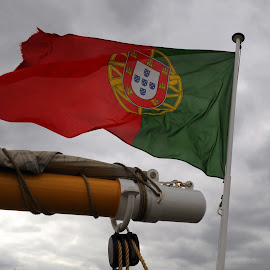 Portuguese Ensign by DJ Cockburn - Artistic Objects Other Objects ( sails, sailboat, england, portuguese, flag, london, sailing, tall ship, ensign, rigging, maritime greenwich, portugal, river thames )