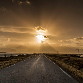 Road to nowhere by Benny Høynes - Landscapes Cloud Formations ( water, sunbeams, sunset, weather, road, norway, , #GARYFONGDRAMATICLIGHT, #WTFBOBDAVIS )