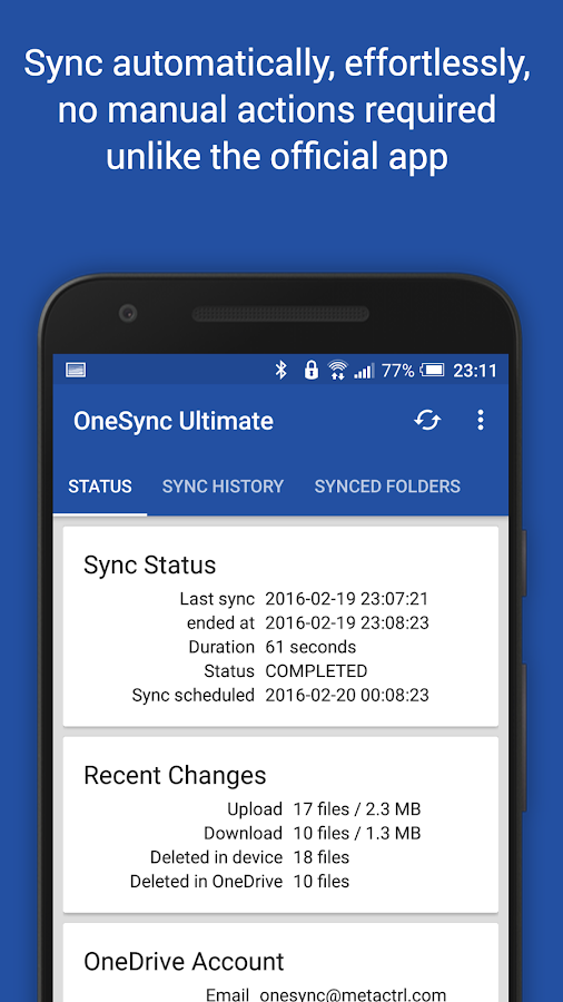 Autosync OneDrive - OneSync Screenshot 1