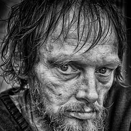 I'm Hungry ! by Marco Bertamé - Black & White Portraits & People ( homeless, beard, man )