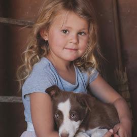 Puppy love by Chrismari Van Der Westhuizen - Babies & Children Child Portraits ( children, puppy, childhood, kids, cute, puppy portrait, portrait )