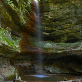 French Canyon Falls by Gerard Pascazio - Landscapes Waterscapes ( small pool, starved rock s.p., illinois, waterfall, canyon )