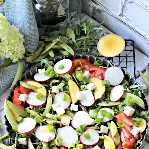 Grilled Snap Peas, Peaches and Feta Summer Salad