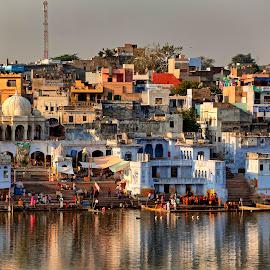 Pushkar Lake by Vinod Khapekar - Landscapes Travel ( canon, water, reflection, sky, vinodkphotos, pushkar, rajasthan, india, landscape, people )