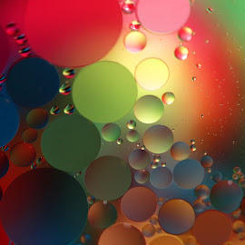 Burst of Color by Janet Herman - Abstract Macro ( water, abstract, circles, macro, ellipses, drops, reflections, orbs, oil )