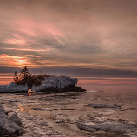 Morning at the Rock by Linda Farwell Ryma - Landscapes Waterscapes ( hollow rock, sunrise )