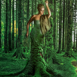 Tree Woman by Kreativelens Photography - Digital Art People ( ree, model, lush, woman, tropical, moss, forest, comcept, river, gree )