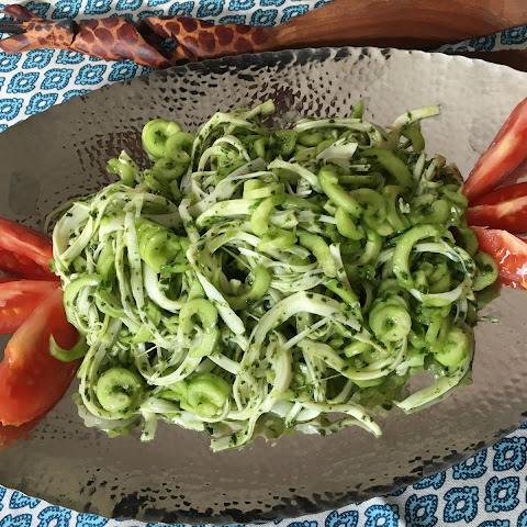 Spiralized Cucumber and Armenian String Cheese Salad With Basil Dressing