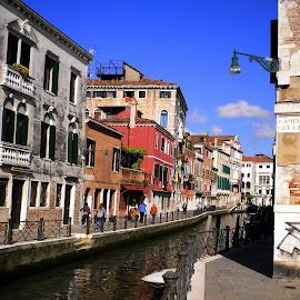Venice Street Scene by Helen Roberts - City,  Street & Park  Street Scenes