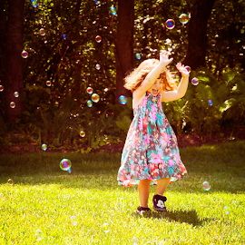 Chasing Bubbles by Rita Colantonio - People Street & Candids ( child, girl, kidsofsummer, action, summer, candid )