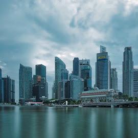 Skyline on cloudy by Arif Djohan - City,  Street & Park  Skylines ( skyscraper, skyline, slow shutter )