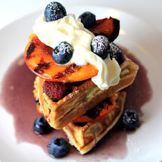 Waffles with Grilled Peaches & Blueberry Maple Syrup